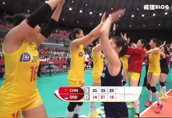 中国女排3-0击败塞尔维亚提前卫冕世界杯冠军